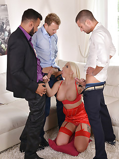 Bang Of The Gang - Blonde Double Penetrated During Group Sex free photos and videos on DDFNetwork.com