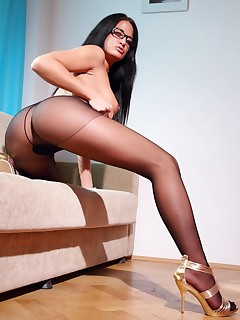 aPantyhose - Beautiful secretary shows all of sexy legs in pantyhose
