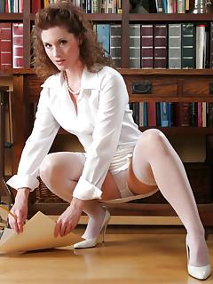 Office MILF in white stockings