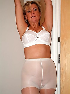 Mature in White Pantyhose